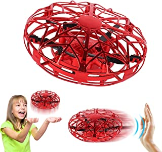 Hand Operated Drones for Kids or Adults - Air Magic Scoot Hands Free Mini Drone Helicopter, Easy Indoor UFO Flying Ball Drone Toys for Boys or Girls (RED)