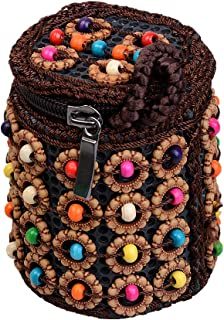 F Fityle Colorful Beads Woven Handbag Ethnic Zip Around Wallet Wristlet Jewelry Bag