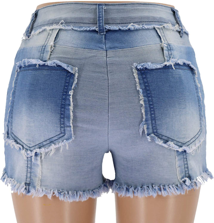 Women's Fashion Stitching Denim Shorts Summer Mid Waisted Comfortable Raw Edge