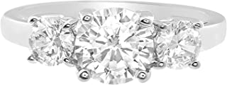 Sterling Silver Three Stone Round Cut Cubic Zirconia Anniversary/Engagement Ring for Women (Various Sizes)