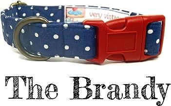 Very Vintage Designs The Brandy - Navy Blue White Polka Dot Nautical Preppy Organic Cotton Pet Collar - Handmade in the USA
