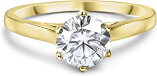 Buy Jewels 10k Solid Gold 6 Prong Round Moissanite Solitaire Engagement Ring for Women 1ct Dew G-H Color VVS1 Quality