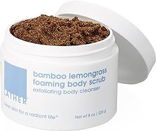 LATHER Bamboo Lemongrass Foaming Body Scrub, 8 Ounce Jar