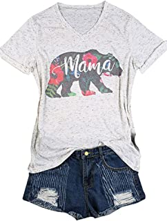Women's Mama Bear Floral Printed Short Sleeve V-Neck Casual T-Shirt Blouse