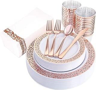 IOOOOO 160pcs Lace Dinnerware Set, 20 Rose Gold Dinner Plates 10.25