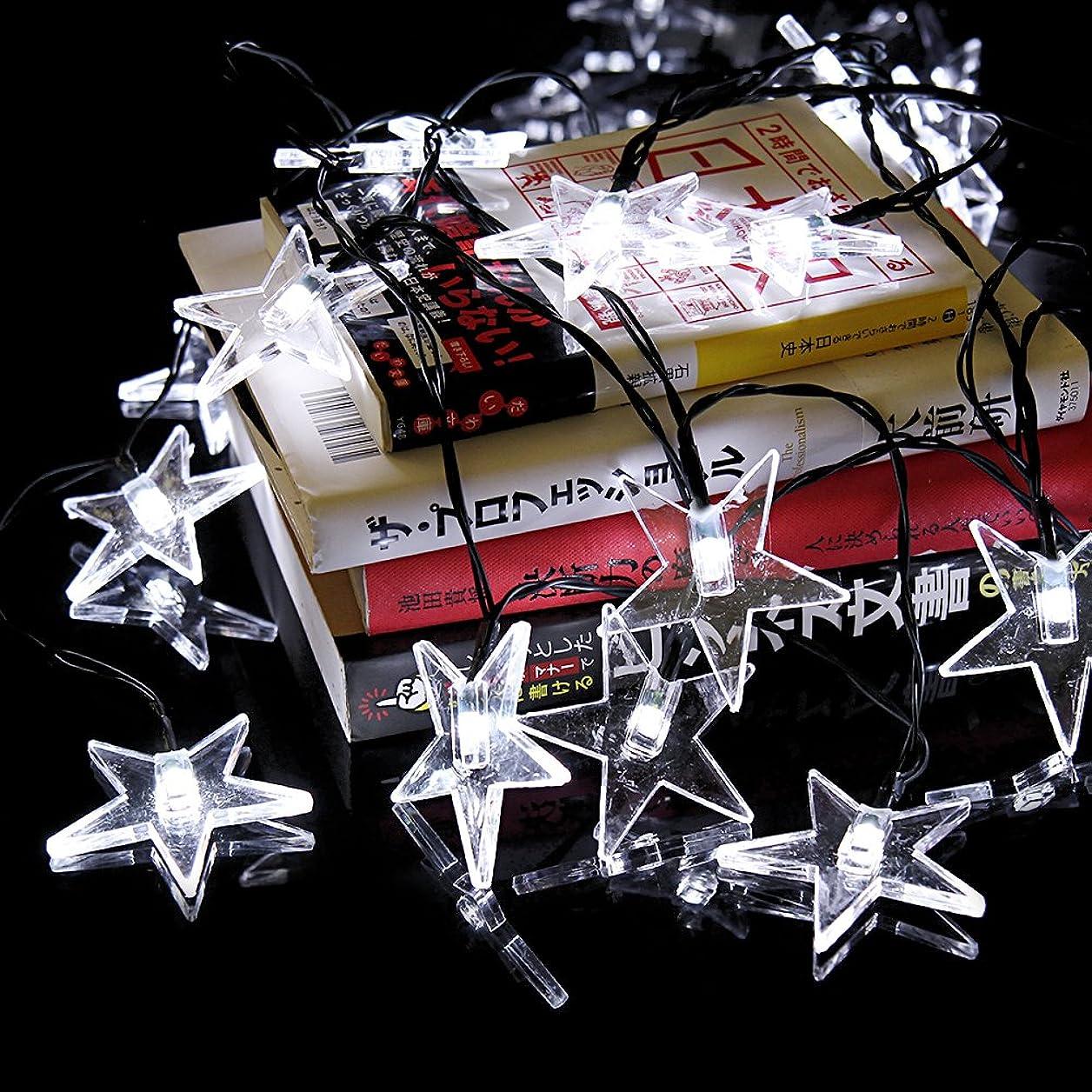 荷物入射徹底Yalufa イルミネーションライト30LED星スターストリングライト発光色ホワイトソーラー充電式光センサー内蔵自動点灯2発光モード防水防雨クリスマス飾り