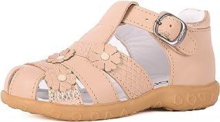 Kone Girl's Light Caramel Floral Sandal