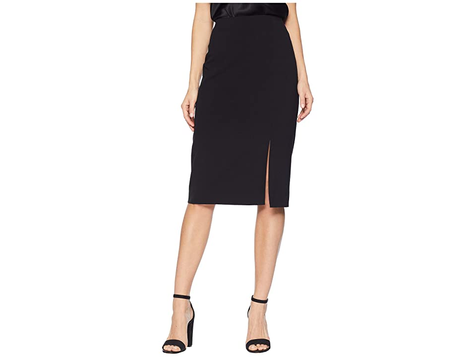 Tahari by ASL Bi-Stretch Pencil Skirt with Front Slit (Black) Women