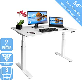 "Seville Classics OFFK65823 Airlift S3 Electric Standing Desk with 54"" Top, Dual Motors, 4 Memory Buttons, LED Height Display (Max. 51.4"" H) 3-Section Base, White, Wood,"
