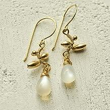 Pendientes de piedra de luna blanca Vid Junio Piedra de nacimiento 14kt Cables de oreja rellenos de oro