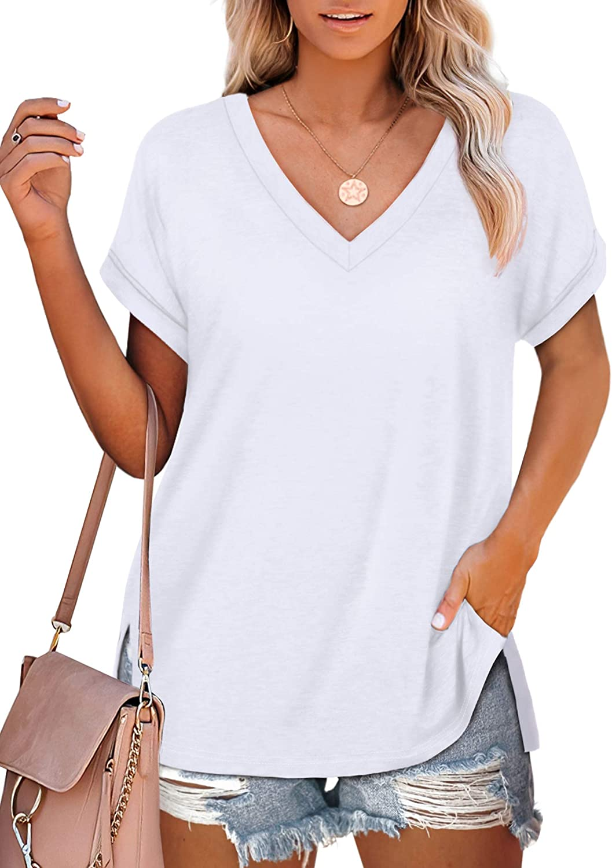 NSQTBA Womens T Shirts V Neck Roll Sleeve Tshirts Loose Fit Summer Tops Side Split
