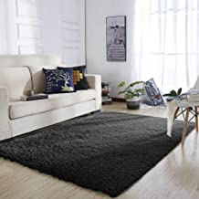 YOH Super Soft Area Rugs Silky Smooth Bedroom Mats Fluffy Shaggy Rugs for Living Room Kids Room Nursery Home Decor Carpet 4 Feet by 5.3 Feet (Black)
