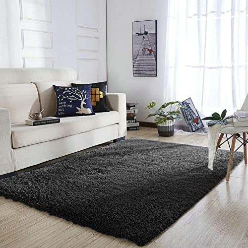 Black Furry Rug: Amazon.com