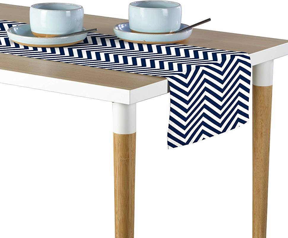 Milliken Navy Chevron Signature Table Runner Assorted Sizes 12 X72