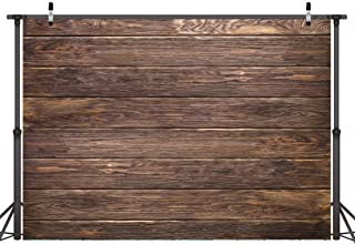 LYWYGG 7x5ft Thin Vinyl Brown Wood Backdrop Photographers Retro Wood Wall Background Cloth Seamless CP-19