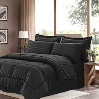 Sweet Home Collection 8 Piece Comforter Set Bag Stripe Design, Bed Sheets, 2 Pillowcases, 2 Shams Down Alternative All Season Warmth, King, Dobby Black