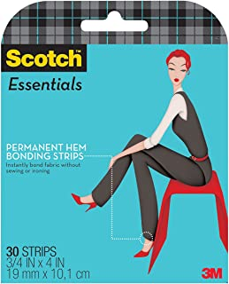 Scotch Essentials Permanent Hem Bonding Strips, 30 Strips (W-107-A)