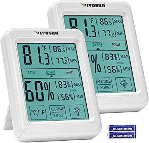 wholesale VIVOSUN 2 Pack Digital Indoor Thermometer and Hygrometer with Humidity Guage, Accurate Temperature Humidity Monitor Meter with outlet sale Touch LCD Backlight for Home, Office, sale Indoor Garden online sale