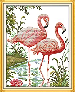 Good Value Cross Stitch Kits Beginners Kids - Two Flamingos 11 CT 15