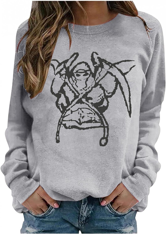 Halloween Shirts For Under blast sales Women Long Sweatsh Tulsa Mall Skeleton Sleeve Printed