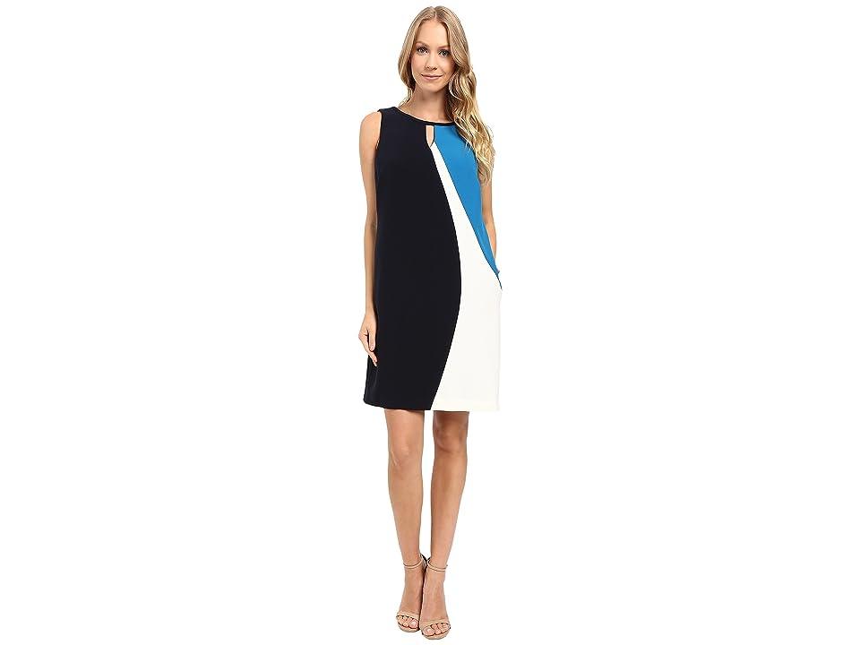 Ellen Tracy Asymmetrical Seamed Shift Dress (E Navy) Women