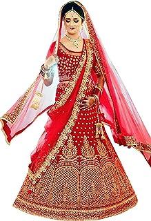 Hir Fashion Women's Taffeta Silk Semi-stitched Lehenga Choli With Dupatta (Mp-65451_Red_Free Size)