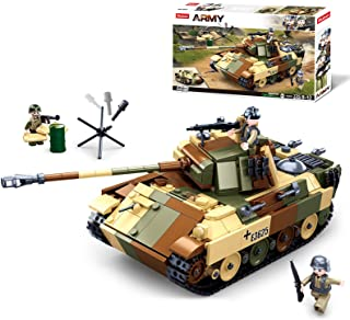 Sluban WWII-Medium Tank Building Blocks Toy, 2 in 1 Educational Learning Construction Toys Set for Kids Boys Grils Ages 6 ...