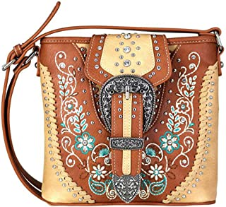 Cross Body Floral Embroidered Buckle Messenger Bag Purses MW671-8360