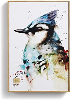 DEMDACO Dean Crouser Blue Jay Watercolor Blue 12 x 8 Wood and Canvas Decorative Wall Art Plaque
