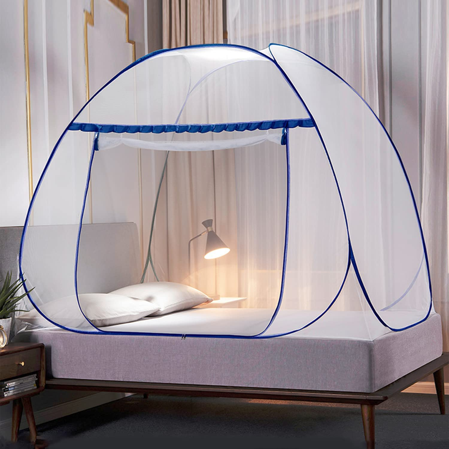 Ivellow Pop Up Mosquito Net Tent Folding Mosquito Tent with Bottom for Baby Adults Pop Up Mesh Tent for Bed Net Canopy Bedroom Home Outdoor Camping Trip