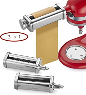 InnoMoon Pasta Maker Attachment Set for KitchenAid Stand Mixers, 3 Pieces- Pasta Sheet Roller, Spaghetti & Fettuccine Cutters Accessories and Cleaning Brush