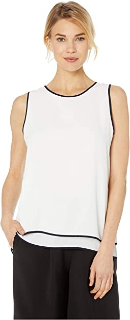 Sleeveless Double Layered Contrast Piping Blouse