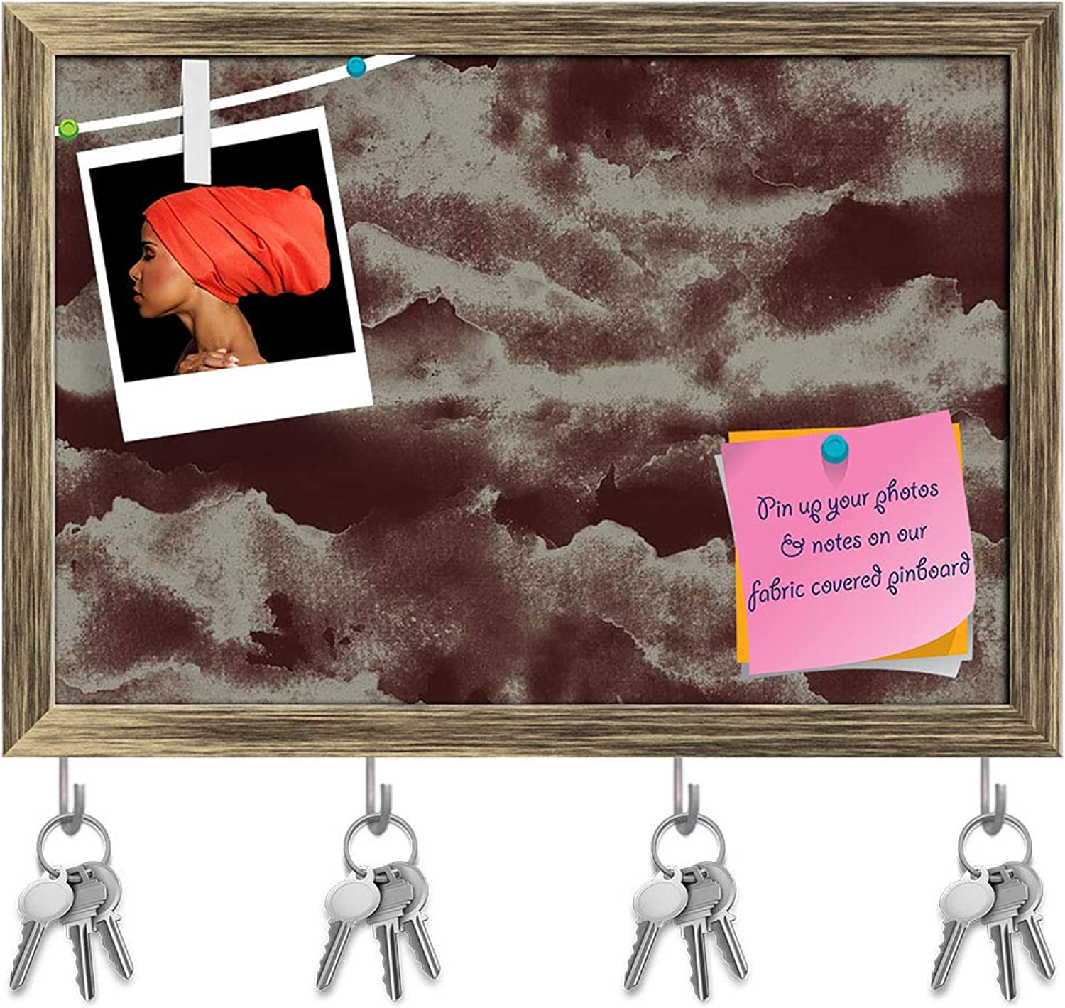 Artzfolio Abstract Mountains Key Holder Hooks   Notice Pin Board   Antique golden Frame 14.2 X 10Inch