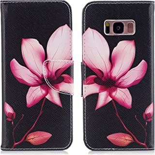 Aismile Flip Wallet Case for Galaxy S8 Plus PU Leather Case with Multi Credit Card Holders Pockets Folio Magnetic Closure Waterproof Cover for Samsung Galaxy S8 Plus 2017 Beautiful Pattern Pink Lotus