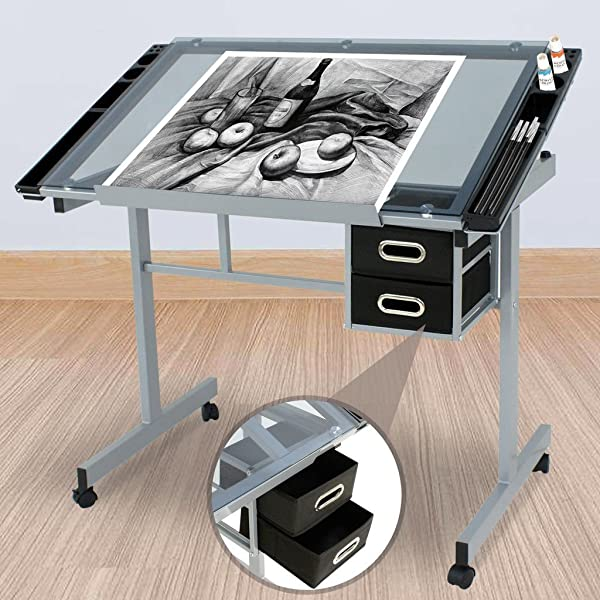 Adjustable Rolling Drawing Drafting Silver Black Table Tempered Safety Glass Top Art Craft Work Station Desk Board Work Hobby Stool Durable Powder Coated Steel Frame 2 Slide Out Drawer Storage