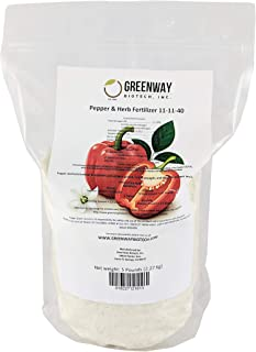 Pepper and Herb Fertilizer 11-11-40 Powder 100% Water Soluble Plus Micro Nutrients and Trace Minerals Greenway Biotech Brand 5 Pounds (Makes 1000 Gallons)