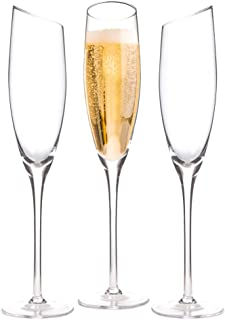 Champagne flute - lead-free Crystal wine glass set of three with a long stem and elegant, unique slanted bowl, 6.5 oz for sparkling wine Blanc de noirs, Blanc de blancs, Prosecco and Cava