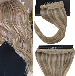Sunny Hair 14inches Halo Hair Extensions Human Hair Golden Blonde Highlight with Medium Blonde Invisible Wire Hair Extensions Remy Hair 80g/pack
