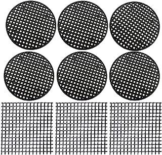 Flower Pot Hole Mesh Pads 128 PCS Plastic Mesh Screen - 108 PCS 4.6cm Round Bonsai Bottom Grid Mat and 20 PCS 5x5cm Square Rigid Polyethylene Garden's Drainage Mesh Hole Screens Prevent Soil Loss Anti