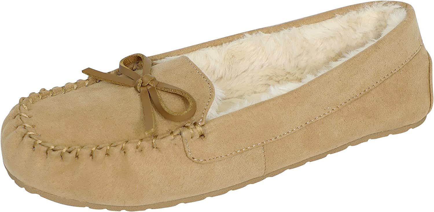 Max 87% OFF Athlefit Women's Moccasin Slippers Faux Slip Fur Slipp On Fluffy Max 58% OFF