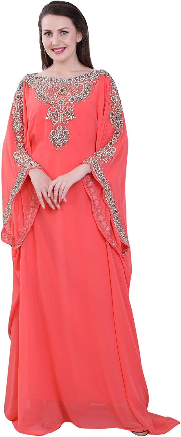Women Farasha Embroidered Kaftan Long Dress Faux Georgette Ethnic, Bridal, Evening, Party, Dress with Free Scarf | Size- Free