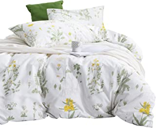 Wake In Cloud - Botanical Comforter Set, 100% Cotton Fabric with Soft Microfiber Fill Bedding, Yellow Flowers and Green Leaves Floral Garden Pattern Printed on White (3pcs, Twin Size)
