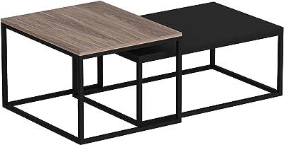 en.casa Set di 2 Tavolini Bassi in Altezze Diverse Tavolini a Forma di Cubo in Metallo con Superficie AntiGraffio Tavolini da Salotto//Soggiorno//Sala di Attesa Nero Opaco