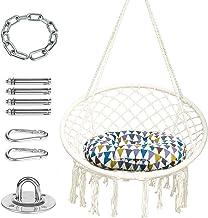 TRENDBOX Hammock Chair and Cushion and Hanging Hardware Accessories for Indoor Outdoor Bedroom Yard Garden - Beige
