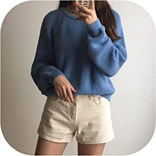 Bluecandy Autumn Winter Chi Short Pullover Sweater Women Loose Slim Simple Bottom Knit Pull Femme O Neck Solid Coat