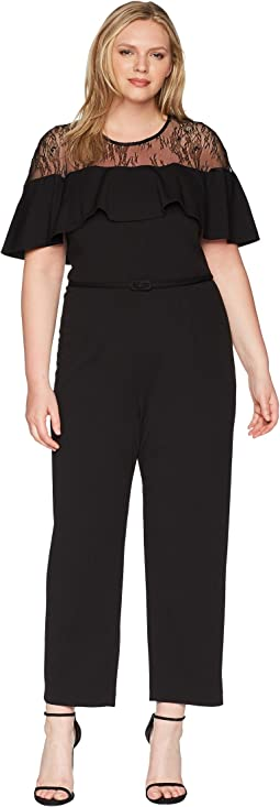 Plus Size Illusion Neckline Jumpsuit