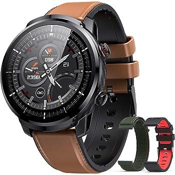 Hommie smartwatch Uomo,Orologio Uomo Smartwatch IP68, Orologio Fitness con 3 Diversi Cinghie, Smartwatch Touchscreen con Cardiofrequenzimetro, Orologio Sportivo Uomo per iOS Android Samsung Huawei