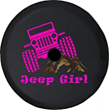 JL Series Spare Tire Cover Backup Camera Hole Jeep Girl Pink Offroad Mountain Rocks Black 32 in