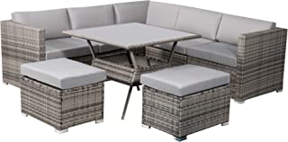8PC Outdoor Dining Set with Seat and Back Cushions PE Rattan Weather Resistance Garden Furniture Patio Setting Grey