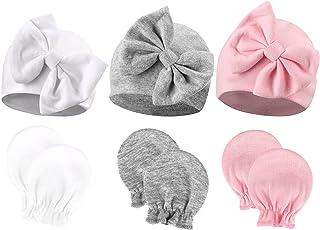 DRESHOW Czapka i rękawiczki dla noworodka, czapka i rękawiczki dla dziewczynki na wiosnę lato jesień zima czapki dla 0-6 m...